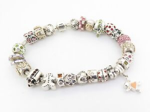 .Stacked - Authentic Chamilia Sterling Silver Bracelet With 27 Charms 100 grams