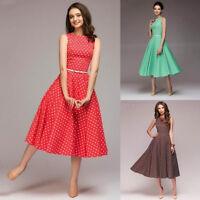 Summer Womens Dot Sleeveless Hebburn Vintage Zip Cute Floral Knee Length Dress
