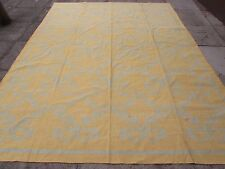 Antique Hand Made Oriental Indian Dari Gold Yellow Cotton Large Kilim 307x239cm
