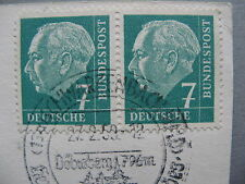 GERMANY BRD, card 1959, horizontal pair Hess 7 Pf
