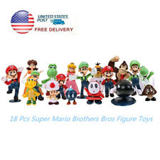 18 pcs Super Mario Brothers Bros Action Figure PVC Toys Playset Gift Cake Topper