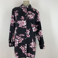 Soft surroundings women's top blouse tunic gray pink floral size medium