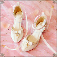 Lolita Janpaese Womens PU Kawaii Mori Girl Bowknot Shoes Student Shoes Summer
