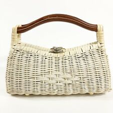 Vintage White Wicker Purse Hong Kong With Wooden Handles A125