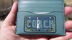 NEW COACH card case leather 26086 NY license plate Statue of Liberty slate green