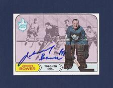 Johnny Bower signed Toronto Maple Leafs 1968 Topps hockey card
