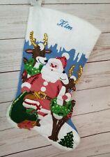 "Completed Bucilla Christmas 15"" felt stocking ""Santa & Reindeer"" embroidered Kim"