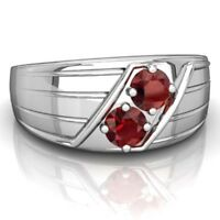 14K Solid White Gold Natural Gem Stone Garnet Men's Ring Jewelry Us Size 8 9