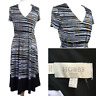 Hobbs Black White Stripe Aline Midi Flared Stretch Abstract Dress Size 8
