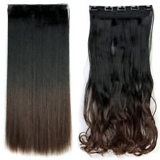 Natural Hair Extensions Clip On One Piece Brown Half Full Head Real Human Style