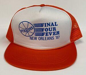 Rare Vintage Syracuse Final Four Fever '87 Snapback Trucker Hat Trucker Rope Cap