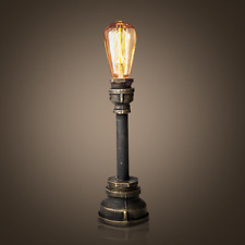 Vintage Industrial Style Metal Pipe Table Lamp Light Edison Bulb Desk Light