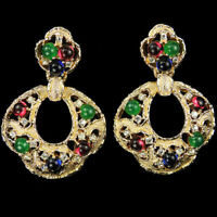 Jomaz Moghul Style Gold and Tricolour Cabochons Pendant Pierced Earrings