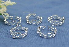wholesale lots 10P   Silver Heart Design toe rings Adjustable