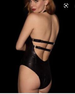 Preowned Honey Birdette Vegas Swimsuit Black Matte Bodysuit 14C 36C $4 EXPRESS
