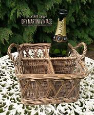 More details for antique vintage wicker basket milk bottles country cottage display film  prop
