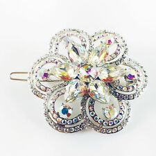 USA Hair Clip use Swarovski Crystal Hairpin barrette Round Silver AB Flower 10