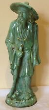 "VINTAGE CERAMIC ORIENTAL STATUE, jade green glaze - 37.5 cm or  14 3/4 """