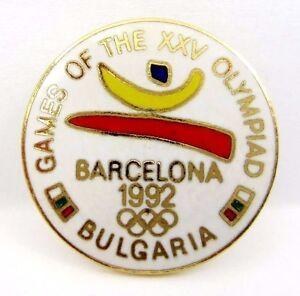 XXV SUMMER OLYMPIC GAMES BARCELONA 1992 BULGARIA NOC PIN BADGE ENAMEL & GILT