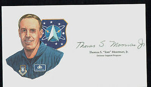 Thomas Tom Moorman Defense Support Program SIX signed autograph cut from Litho