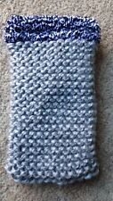 Hand knitted Mobile phone sock/cover/case Black Fleck Wool Detail