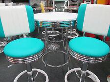 BAR SET AQUA AND WHITE RETRO - NEW DESIGN - CHROME GAS LIFT STOOLS & BAR TABLE