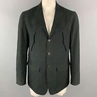 BELVEST Size 42 Black Cotton / Elastane Notch Lapel Patch Pockets Jacket