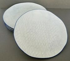 CRACKER BARREL Set of 4 Dinner Plates Embossed Cream and Blue Scale Pattern