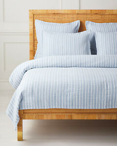 NWT $328 Serena & Lily Carlyle Coverlet Quilt - King/CalK - French blue stripe
