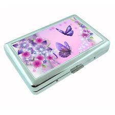 Butterflies Metal Silver Cigarette Case D8 Colorful Butterfy Monarch