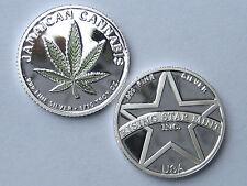 1/10th Troy Oz Pure .999 Solid Silver Jamaican Green Leaf Cannabis Bullion Coin