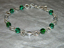 Solid 925 Sterling Silver Link Bracelet w/ Green White Crystal Round Beads B2503