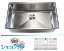 "32"" 15mm (1/2"") Radius Square Corner Stainless Steel Kitchen Sink"
