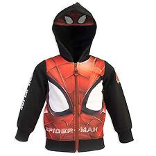 Felpa Spiderman 3 4 6 8 Anni Cappuccio e Mascherina incorporata Interno felpato