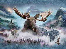 Call of the Wild Waterfall Moose Digital Panel Hoffman Fabrics Q4428H-449