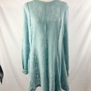 NWT Free People Dress Women's  Large Astral Sea Long Sleeve Seafoam Green