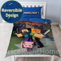 MINECRAFT SINGLE PANEL DUVET COVER & PILLOWCASE SET REVERSIBLE GIRLS BOYS