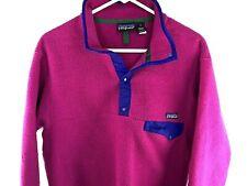 Patagonia Jacket Women's Medium Synchilla Fleece Pullover Pink 3/4 Snap Mock