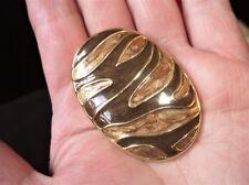 ELEGANT LARGE GOLD TONE OVAL SCARF TIE / PENDANT RAISED BRONZE GOLD ENAMEL