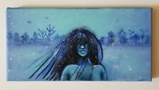 Original 6x12 Acrylic Painting Of A Woman In a Snowy Landscape
