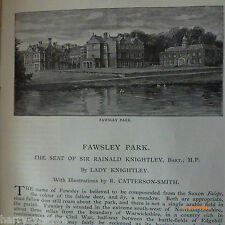 Fawsley Park Lady Knightley Dower Old Antique Illustrated Victorian Article 1891