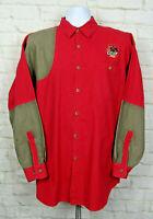 Vtg Columbia USA Mens Sz Large Shooting Hunting Shirt hiking outdoors RED TAN