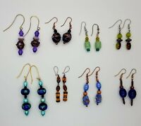 8 Vintage Handmade Earrings Hand blown Glass Multi colors