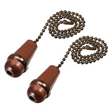 Walnut Wooden Cone Pendant 12 Inch Antique Brass Pull Chain for Fans 2pcs
