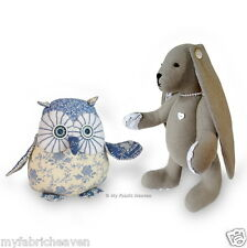 """2 x Sewing PATTERNS Twinkle, Starry-Eyed Owl 6"""" & Lacy Bunny 11"""" Rabbit Toys"""