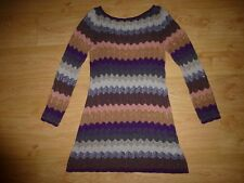 Missoni Lindex Shining Multi Zigzag Ribbed Knit Viscose Dress Size L UK 14