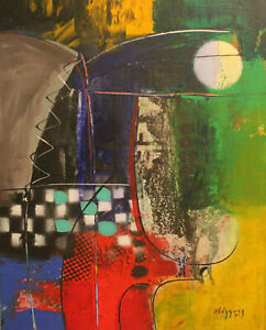 Abstract painting by Michel Blazquez..20x16 inches.Original Cuban Art