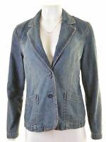 MONSOON Womens Denim Blazer Jacket UK 12 Medium Blue Cotton  KR13