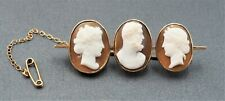 Women's 9ct Yellow Gold Cameo Bar Brooch Fine Vintage Collectable Jewellery