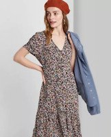 Women's Black Floral Print Short Sleeve Button Down Midi Dress Wild Fable NWT